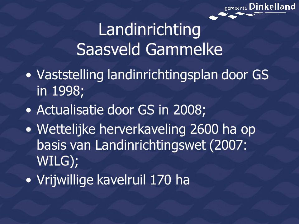 Landinrichting Saasveld Gammelke Vaststelling landinrichtingsplan door GS in 1998; Actualisatie door GS in 2008; Wettelijke herverkaveling 2600 ha op basis van Landinrichtingswet (2007: WILG); Vrijwillige kavelruil 170 ha