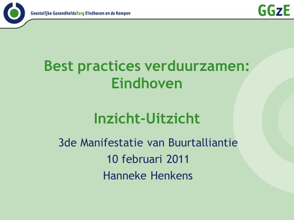 Best practices verduurzamen: Eindhoven Inzicht-Uitzicht 3de Manifestatie van Buurtalliantie 10 februari 2011 Hanneke Henkens