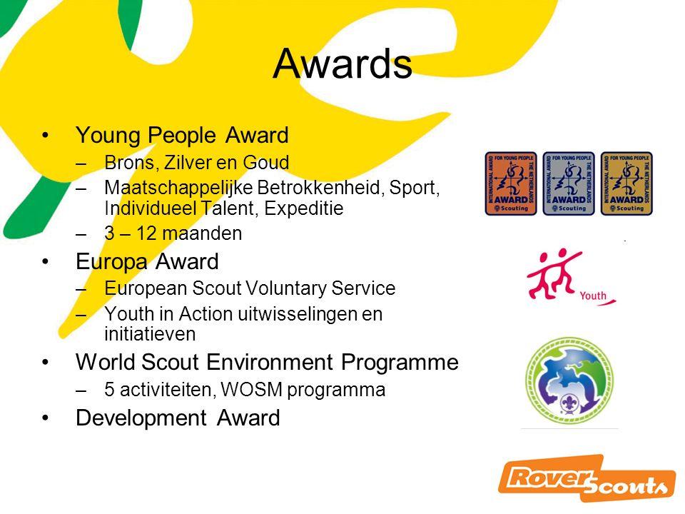 Awards Young People Award –Brons, Zilver en Goud –Maatschappelijke Betrokkenheid, Sport, Individueel Talent, Expeditie –3 – 12 maanden Europa Award –European Scout Voluntary Service –Youth in Action uitwisselingen en initiatieven World Scout Environment Programme –5 activiteiten, WOSM programma Development Award