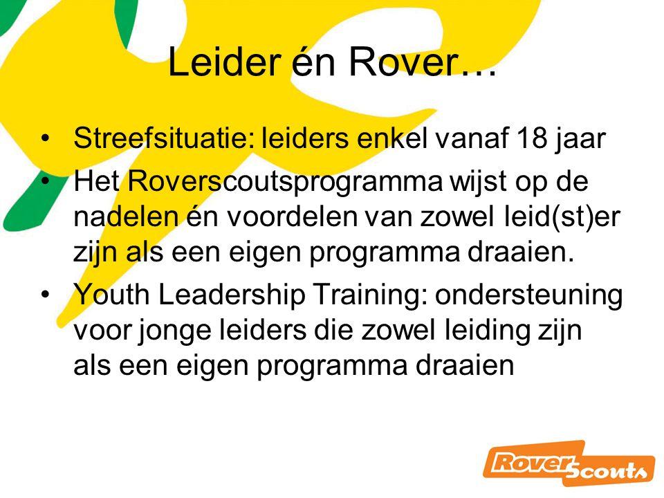 Leider én Rover… Streefsituatie: leiders enkel vanaf 18 jaar Het Roverscoutsprogramma wijst op de nadelen én voordelen van zowel leid(st)er zijn als een eigen programma draaien.