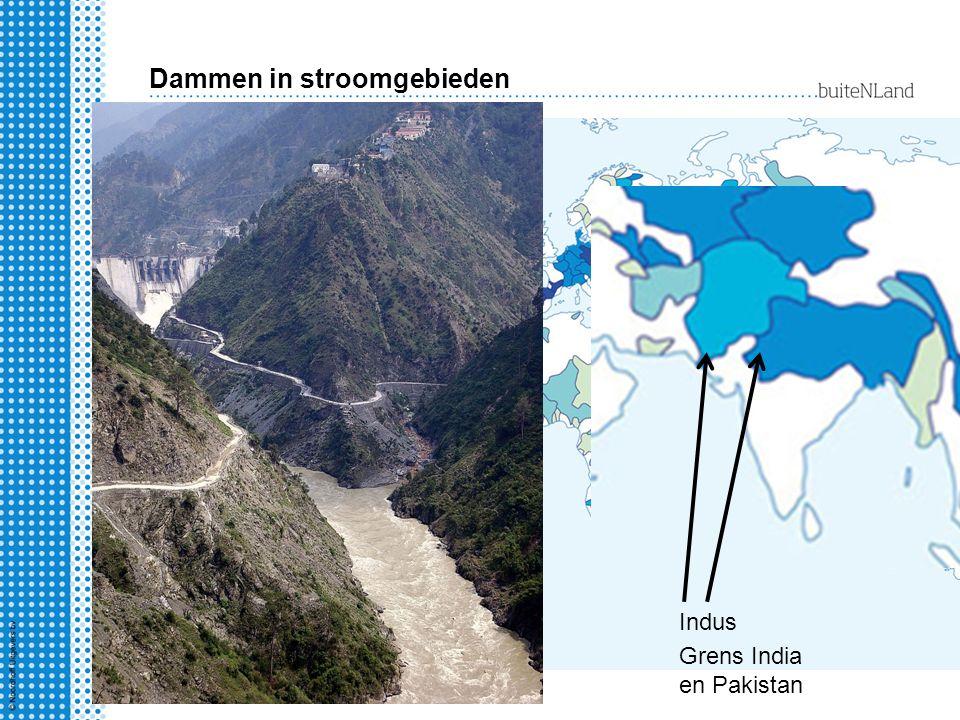 Dammen in stroomgebieden Indus Grens India en Pakistan