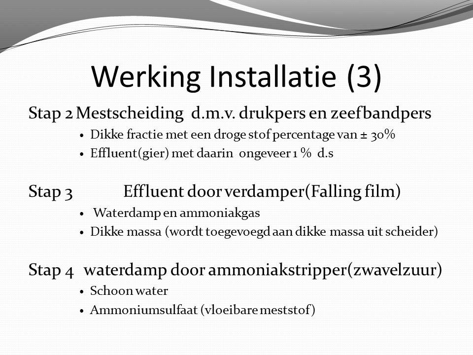 Werking Installatie (3) Stap 2Mestscheiding d.m.v. drukpers en zeefbandpers Dikke fractie met een droge stof percentage van ± 30% Effluent(gier) met d