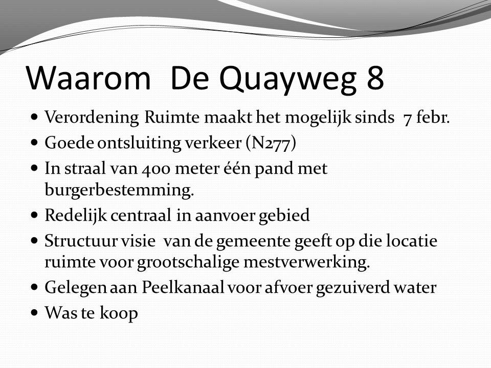Waarom De Quayweg 8 Verordening Ruimte maakt het mogelijk sinds 7 febr. Goede ontsluiting verkeer (N277) In straal van 400 meter één pand met burgerbe