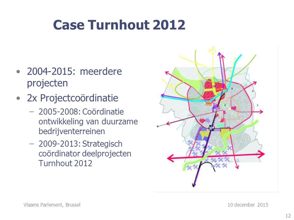 Vlaams Parlement, Brussel 10 december 2015 Case Turnhout 2012 2004-2015: meerdere projecten 2x Projectcoördinatie –2005-2008: Coördinatie ontwikkeling van duurzame bedrijventerreinen –2009-2013: Strategisch coördinator deelprojecten Turnhout 2012 12