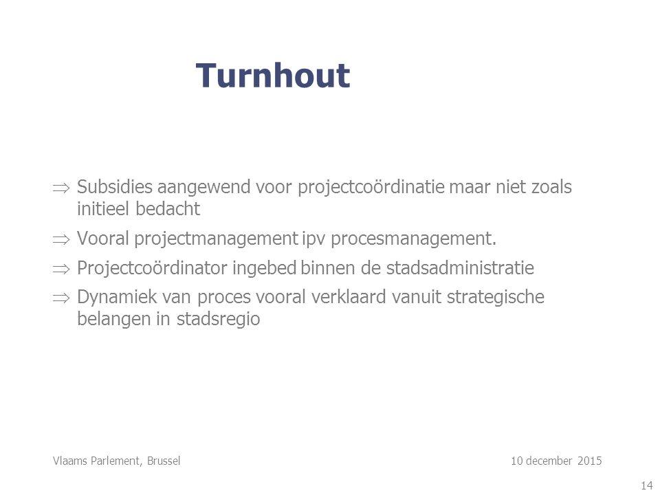Vlaams Parlement, Brussel 10 december 2015  Subsidies aangewend voor projectcoördinatie maar niet zoals initieel bedacht  Vooral projectmanagement ipv procesmanagement.