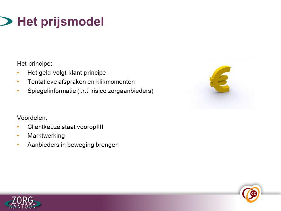 Het prijsmodel Het principe: Het geld-volgt-klant-principe Tentatieve afspraken en klikmomenten Spiegelinformatie (i.r.t.