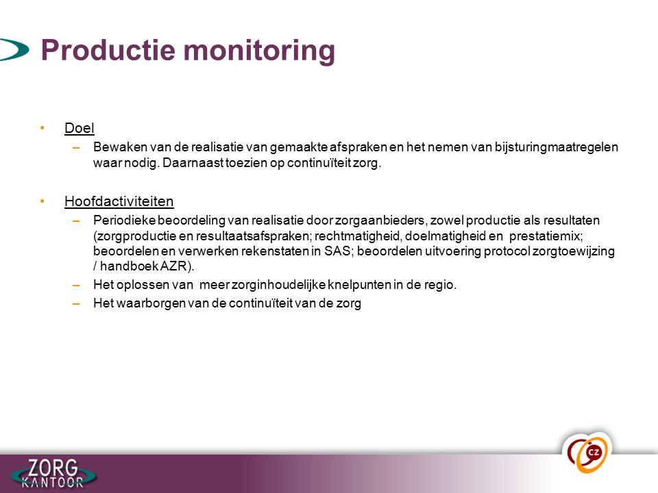 Productie monitoring Doel –Bewaken van de realisatie van gemaakte afspraken en het nemen van bijsturingmaatregelen waar nodig.