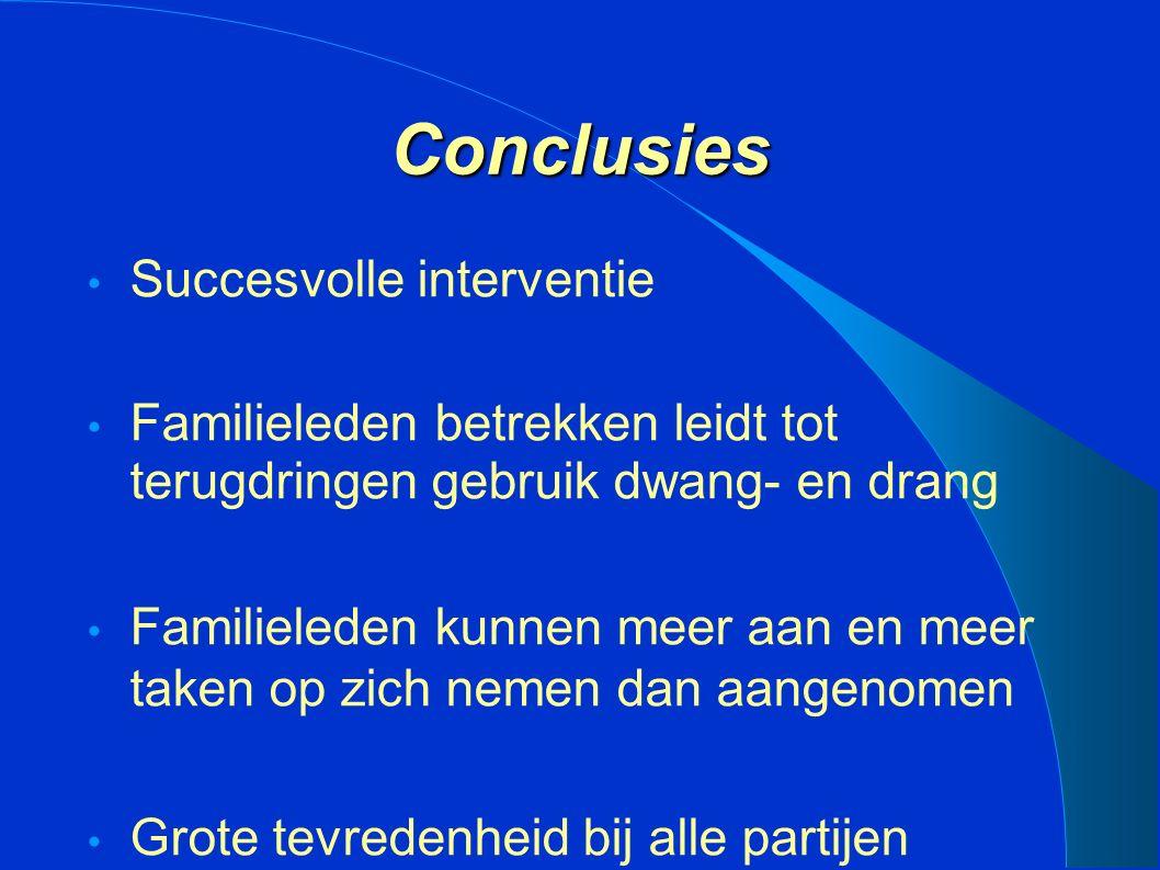 Conclusies Succesvolle interventie Familieleden betrekken leidt tot terugdringen gebruik dwang- en drang Familieleden kunnen meer aan en meer taken op zich nemen dan aangenomen Grote tevredenheid bij alle partijen