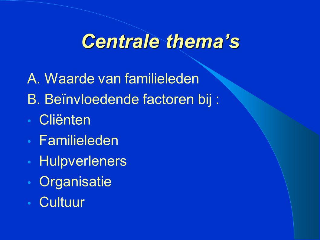 Centrale thema's A. Waarde van familieleden B.
