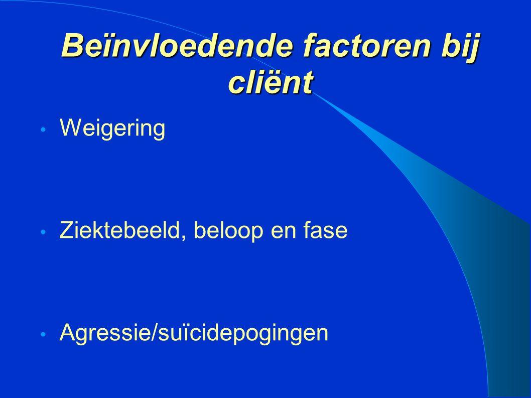 Beïnvloedende factoren bij cliënt Weigering Ziektebeeld, beloop en fase Agressie/suïcidepogingen