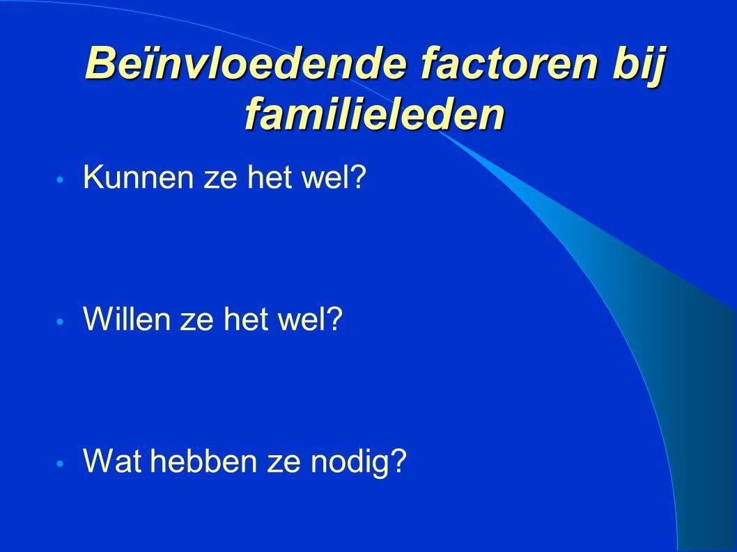 Beïnvloedende factoren bij familieleden Kunnen ze het wel? Willen ze het wel? Wat hebben ze nodig?