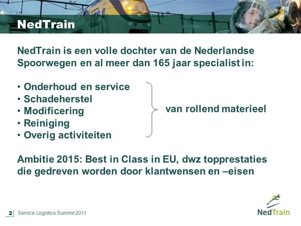 2 Service Logistics Summit 2011 NedTrain NedTrain is een volle dochter van de Nederlandse Spoorwegen en al meer dan 165 jaar specialist in: Onderhoud en service Schadeherstel Modificering Reiniging Overig activiteiten Ambitie 2015: Best in Class in EU, dwz topprestaties die gedreven worden door klantwensen en –eisen van rollend materieel