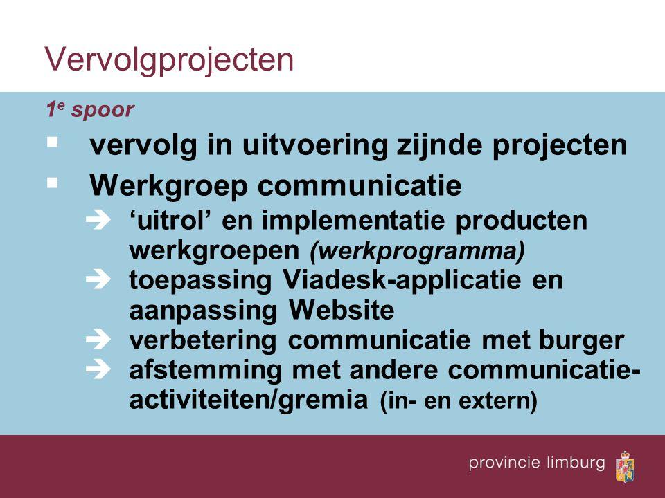 Vervolgprojecten 1 e spoor  vervolg in uitvoering zijnde projecten  Werkgroep communicatie  'uitrol' en implementatie producten werkgroepen (werkpr