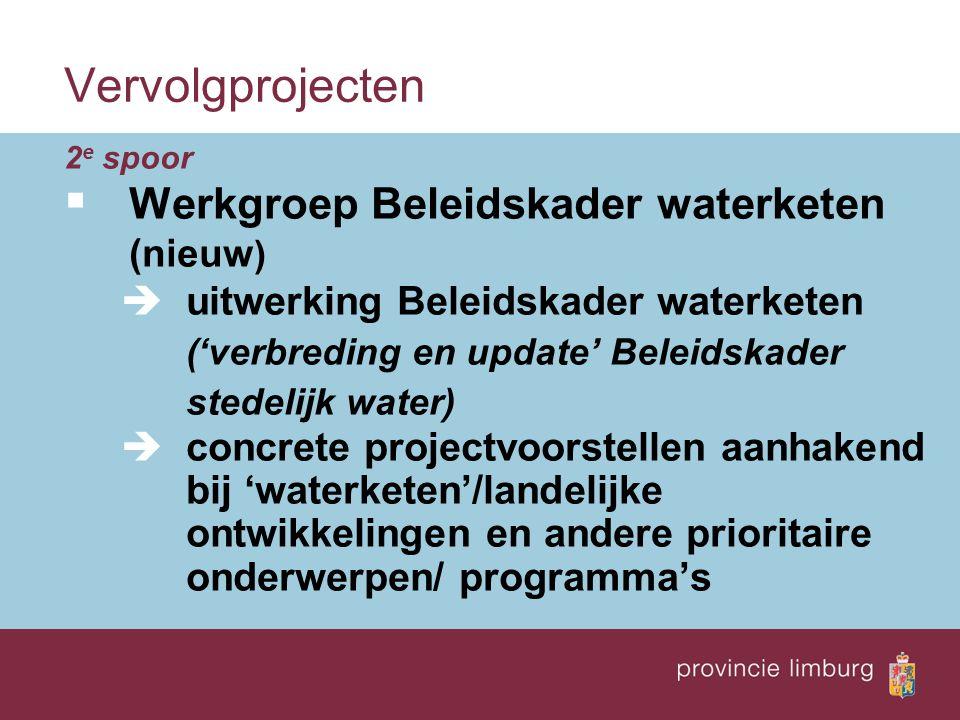Vervolgprojecten 2 e spoor  Werkgroep Beleidskader waterketen (nieuw )  uitwerking Beleidskader waterketen ('verbreding en update' Beleidskader stedelijk water)  concrete projectvoorstellen aanhakend bij 'waterketen'/landelijke ontwikkelingen en andere prioritaire onderwerpen/ programma's
