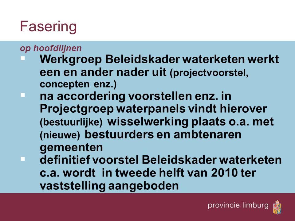 Fasering op hoofdlijnen  Werkgroep Beleidskader waterketen werkt een en ander nader uit (projectvoorstel, concepten enz.)  na accordering voorstellen enz.
