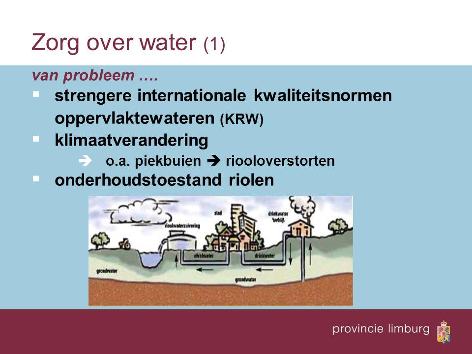 van probleem ….  strengere internationale kwaliteitsnormen oppervlaktewateren (KRW)  klimaatverandering  o.a. piekbuien  riooloverstorten  onderh