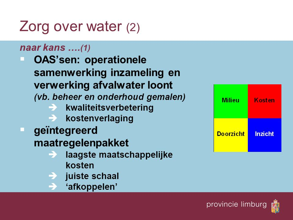 naar kans …. (1)  OAS'sen: operationele samenwerking inzameling en verwerking afvalwater loont (vb. beheer en onderhoud gemalen)  kwaliteitsverbeter