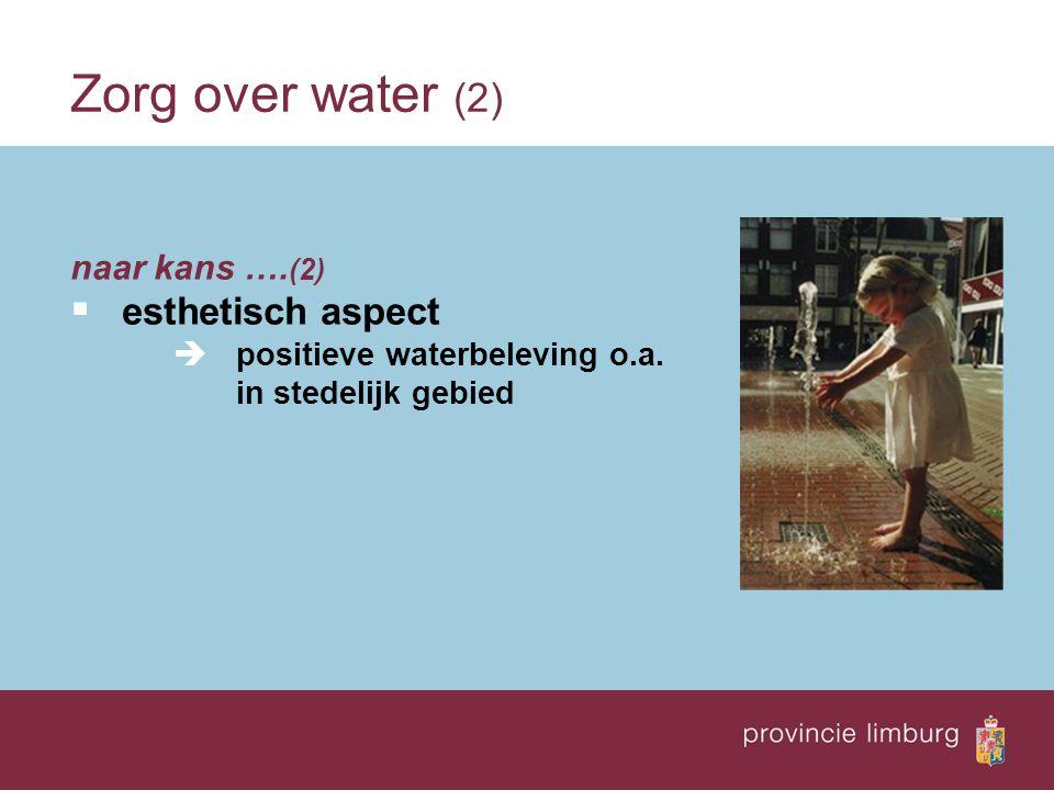 naar kans …. (2)  esthetisch aspect  positieve waterbeleving o.a. in stedelijk gebied Zorg over water (2)