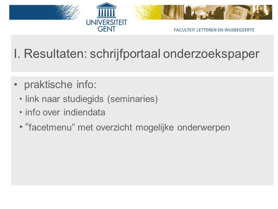 praktische info: ‣ link naar studiegids (seminaries) ‣ info over indiendata ‣ facetmenu met overzicht mogelijke onderwerpen