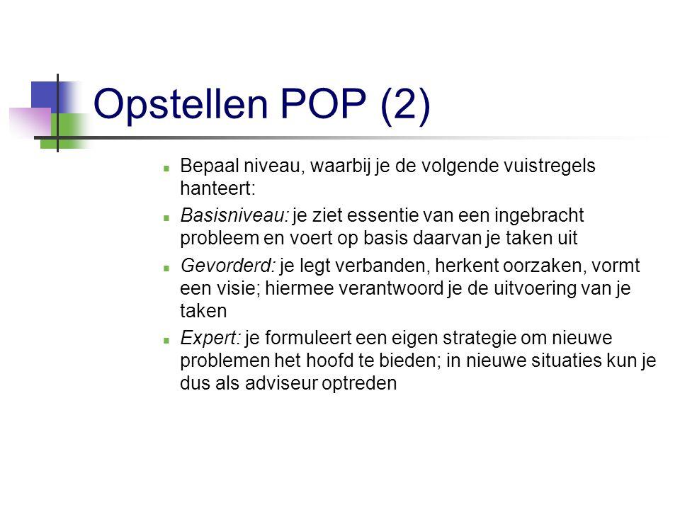 Opstellen POP (2) Bepaal niveau, waarbij je de volgende vuistregels hanteert: Basisniveau: je ziet essentie van een ingebracht probleem en voert op ba