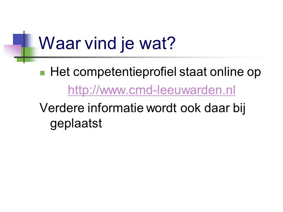 Waar vind je wat? Het competentieprofiel staat online op http://www.cmd-leeuwarden.nl Verdere informatie wordt ook daar bij geplaatst
