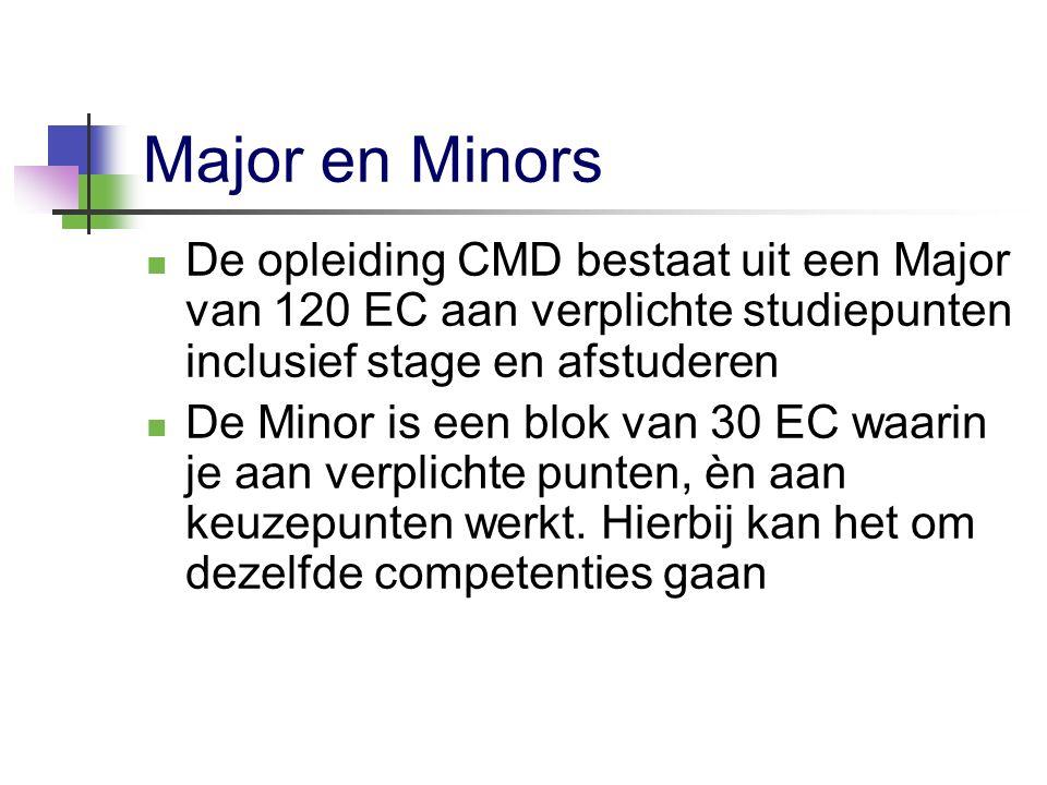 Major en Minors De opleiding CMD bestaat uit een Major van 120 EC aan verplichte studiepunten inclusief stage en afstuderen De Minor is een blok van 3