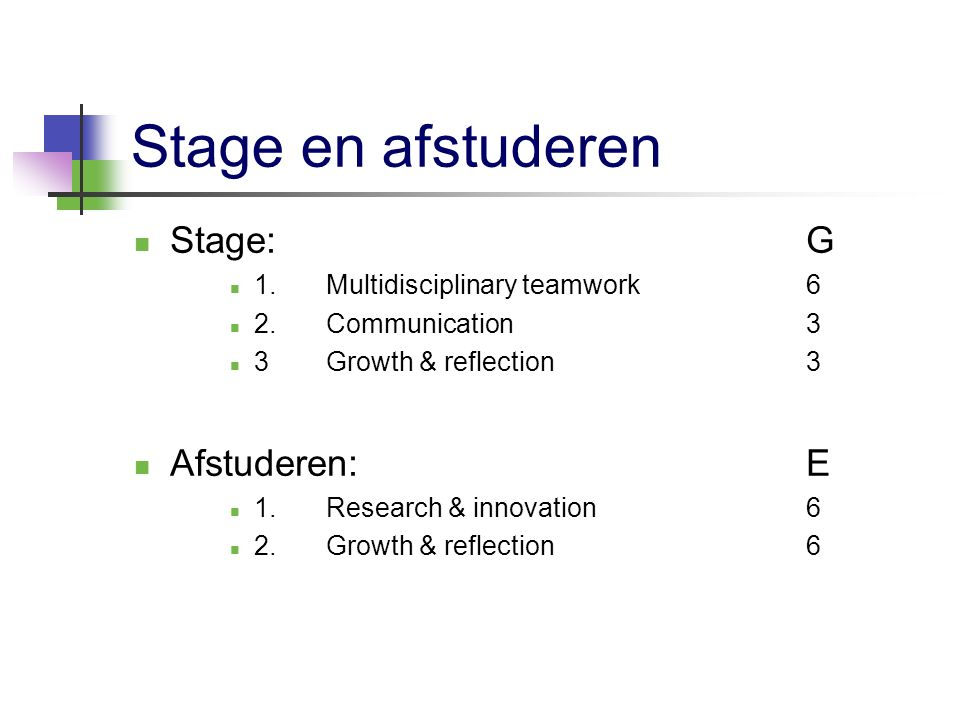 Stage en afstuderen Stage:G 1.Multidisciplinary teamwork6 2.Communication3 3Growth & reflection 3 Afstuderen:E 1.Research & innovation6 2.Growth & ref