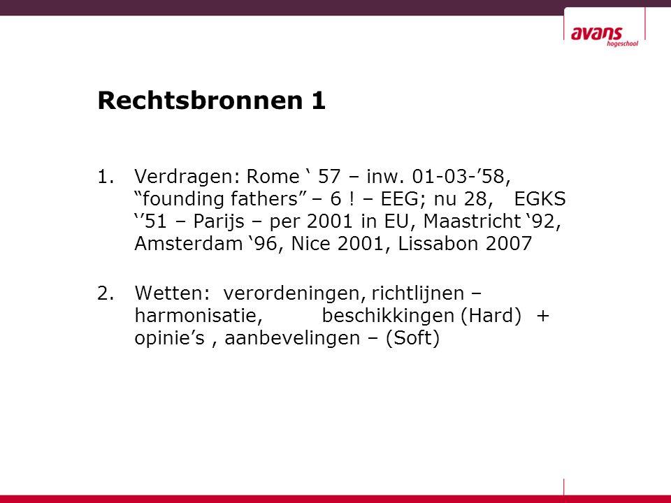 Rechtsbronnen 1 1.Verdragen: Rome ' 57 – inw. 01-03-'58, founding fathers – 6 .