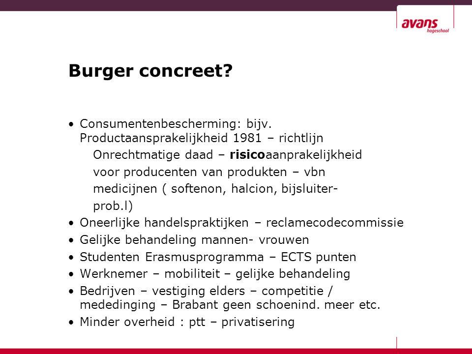 Burger concreet. Consumentenbescherming: bijv.