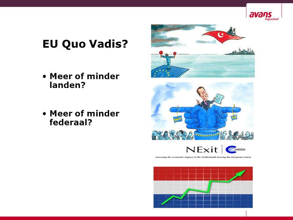 EU Quo Vadis Meer of minder landen Meer of minder federaal