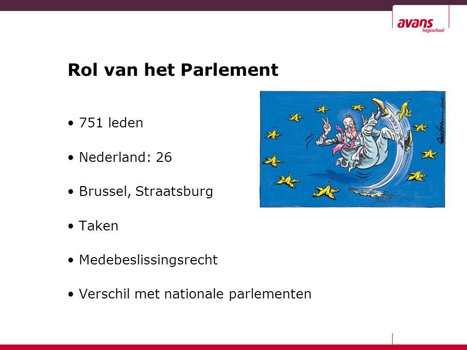 Rol van het Parlement 751 leden Nederland: 26 Brussel, Straatsburg Taken Medebeslissingsrecht Verschil met nationale parlementen