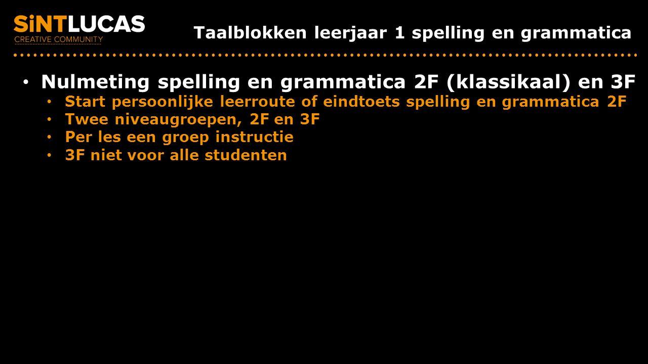 Taalblokken leerjaar 1 spelling en grammatica Nulmeting spelling en grammatica 2F (klassikaal) en 3F Start persoonlijke leerroute of eindtoets spelling en grammatica 2F Twee niveaugroepen, 2F en 3F Per les een groep instructie 3F niet voor alle studenten