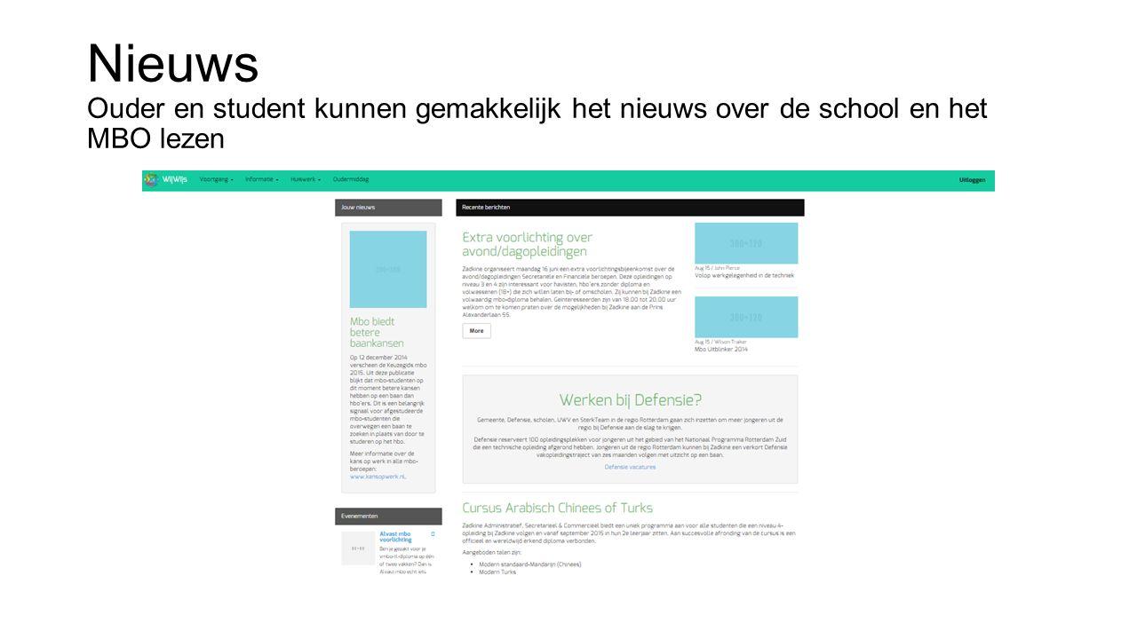 Nieuws Ouder en student kunnen gemakkelijk het nieuws over de school en het MBO lezen