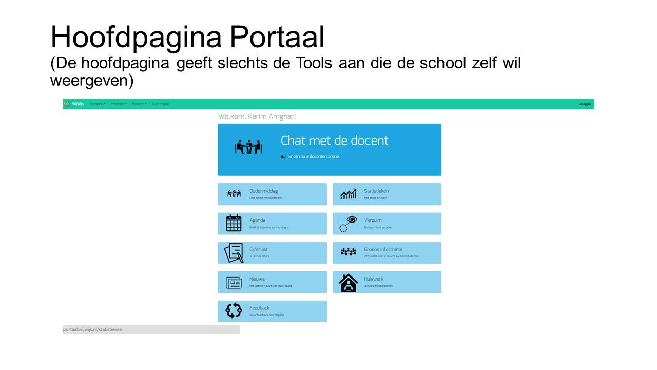 Hoofdpagina Portaal (De hoofdpagina geeft slechts de Tools aan die de school zelf wil weergeven)
