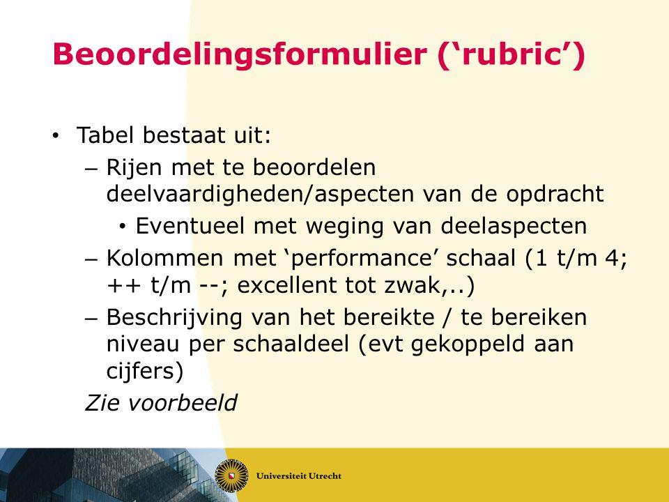 Beoordelingsformulier ('rubric') Tabel bestaat uit: – Rijen met te beoordelen deelvaardigheden/aspecten van de opdracht Eventueel met weging van deela