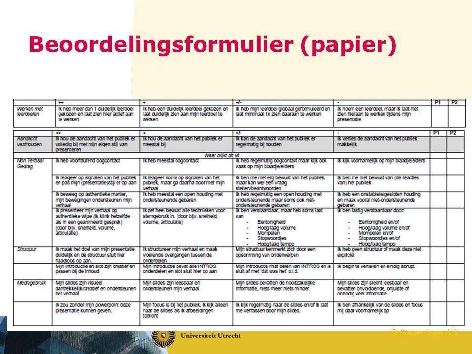 Beoordelingsformulier (papier) © Wageningen UR