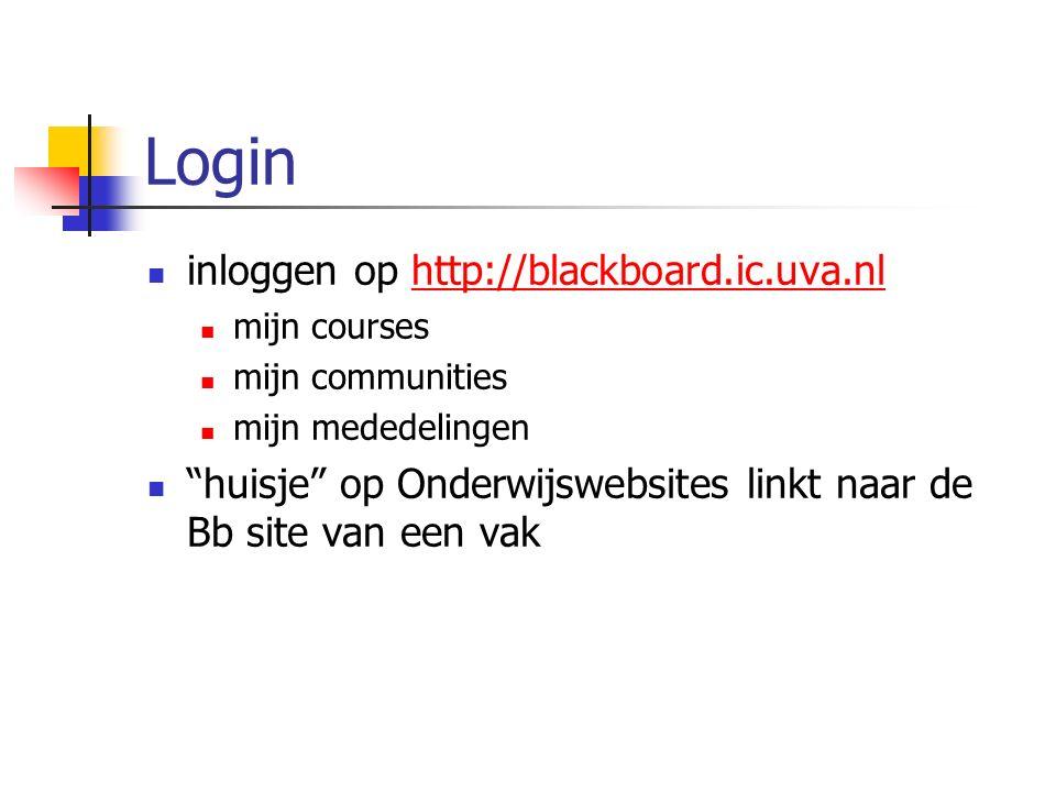 Login inloggen op http://blackboard.ic.uva.nlhttp://blackboard.ic.uva.nl mijn courses mijn communities mijn mededelingen huisje op Onderwijswebsites linkt naar de Bb site van een vak