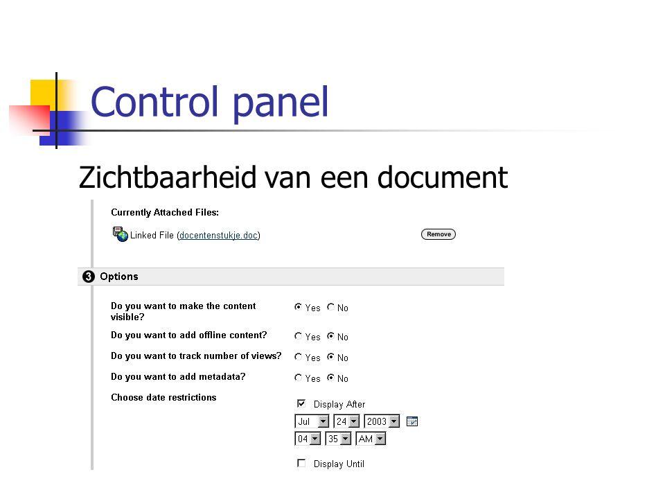 Control panel Zichtbaarheid van een document