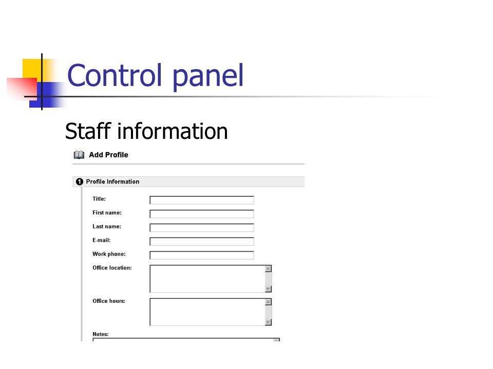 Control panel Staff information