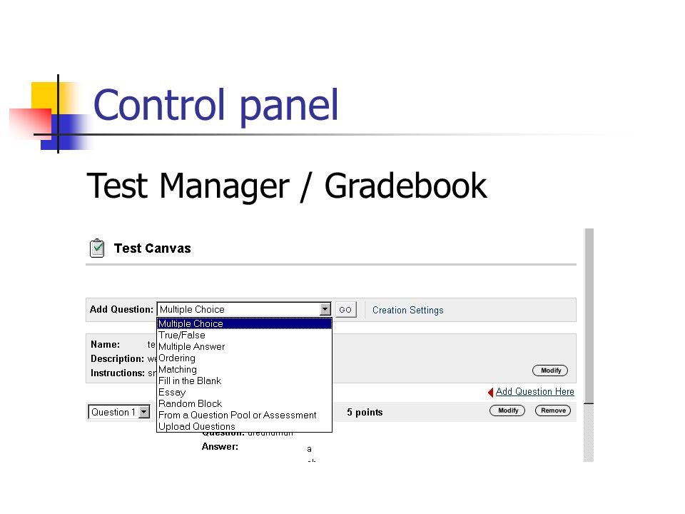Control panel Test Manager / Gradebook
