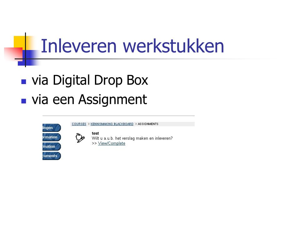 Inleveren werkstukken via Digital Drop Box via een Assignment