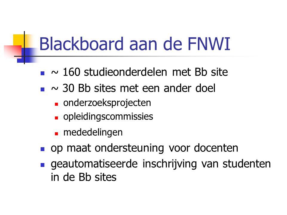 Blackboard aan de FNWI ~ 160 studieonderdelen met Bb site ~ 30 Bb sites met een ander doel onderzoeksprojecten opleidingscommissies mededelingen op maat ondersteuning voor docenten geautomatiseerde inschrijving van studenten in de Bb sites