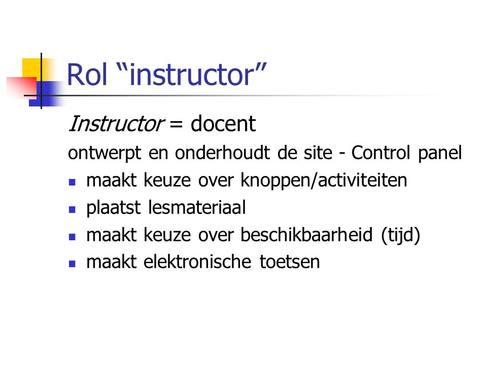 Control panel Lesmateriaal plaatsen: o.a. in Course Documents