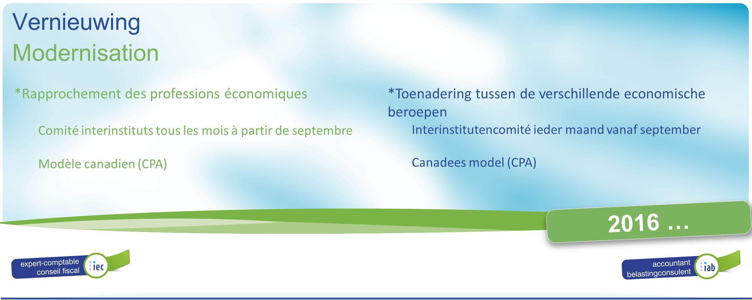 ALGEMENE VERGADERING ASSEMBLÉE GÉNÉRALE 2016 2016 … *Rapprochement des professions économiques Comité interinstituts tous les mois à partir de septemb
