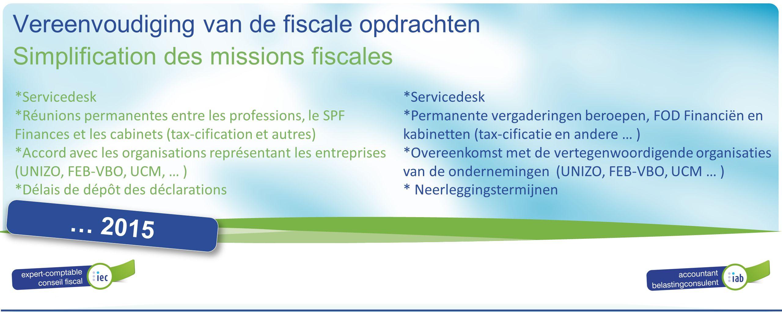 ALGEMENE VERGADERING ASSEMBLÉE GÉNÉRALE 2016 Simplification des missions fiscales Vereenvoudiging van de fiscale opdrachten … 2015 *Servicedesk *Réuni