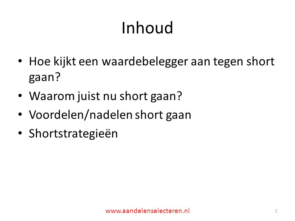 Eerst eenmalige meevaller dan verwijdering uit index: Intelliquent 23 www.aandelenselecteren.nl