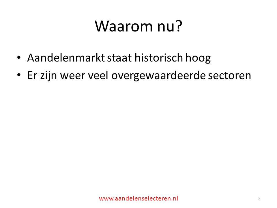 Shiller PE is hoog 6 www.aandelenselecteren.nl