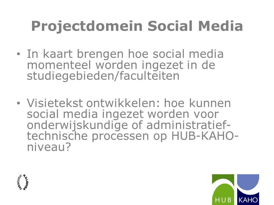 Projectdomein Social Media In kaart brengen hoe social media momenteel worden ingezet in de studiegebieden/faculteiten Visietekst ontwikkelen: hoe kun