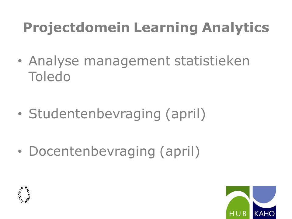 Projectdomein Learning Analytics Analyse management statistieken Toledo Studentenbevraging (april) Docentenbevraging (april)