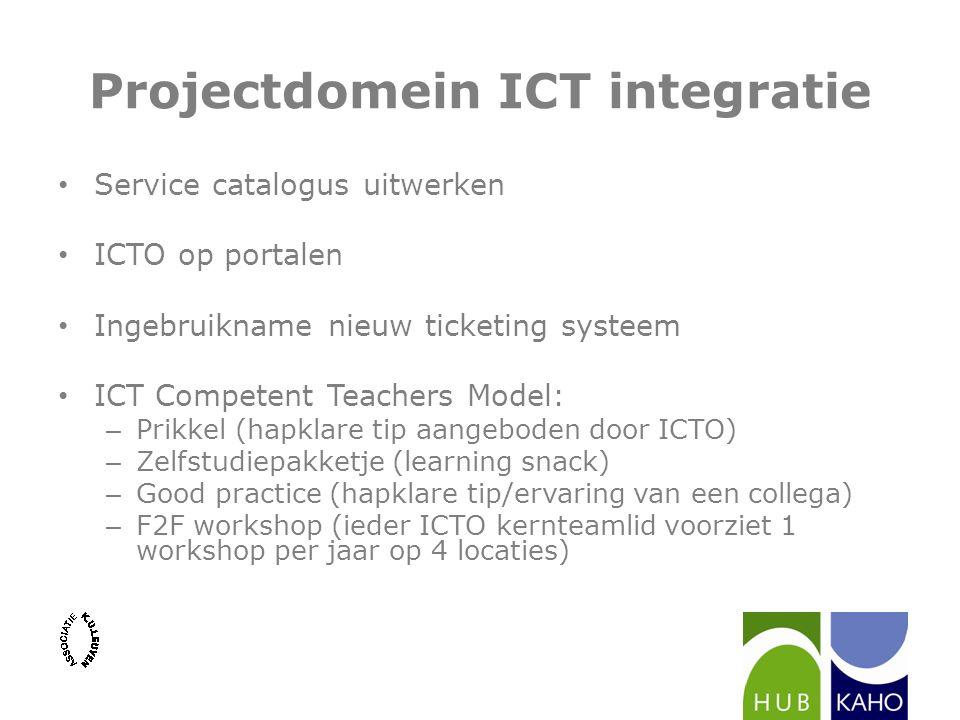 Projectdomein ICT integratie Service catalogus uitwerken ICTO op portalen Ingebruikname nieuw ticketing systeem ICT Competent Teachers Model: – Prikke